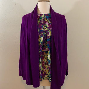Talbots Dark Purple Shawl Collar Cardigan 2XP